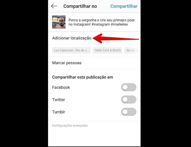 como criar instagram localizacao