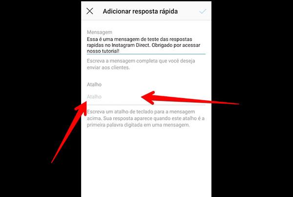 respostas rapidas para instagram direct atalho