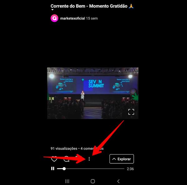 tela de menu do igtv